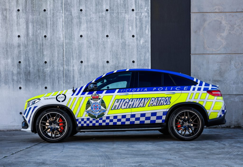 NO CONTEST: Mercedes-AMG GLE 63 S Coupe Highway patrol car has a 430kW turbocharged V8 and all-wheel-drive to help it hit 100kmh in 4.2 seconds and transport cops and criminals in leathery luxury.