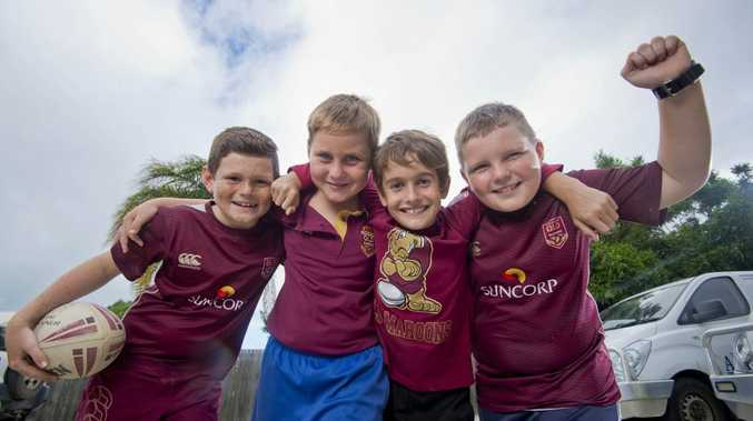 Budding Maroons supporters Mitch Dowling, 10, William Neighbour, 9, Harrison Leis, 9 and Kai Bruse, 9.Photo Paul Braven / The Observer