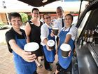 HOSPITALITY HOPEFULS: Michael Jordan, Leith Clements (Sarina Russo job placement officer), Terri-Louise Kelly, David Clark and Gwen Illin making coffee on the street in Pialba.