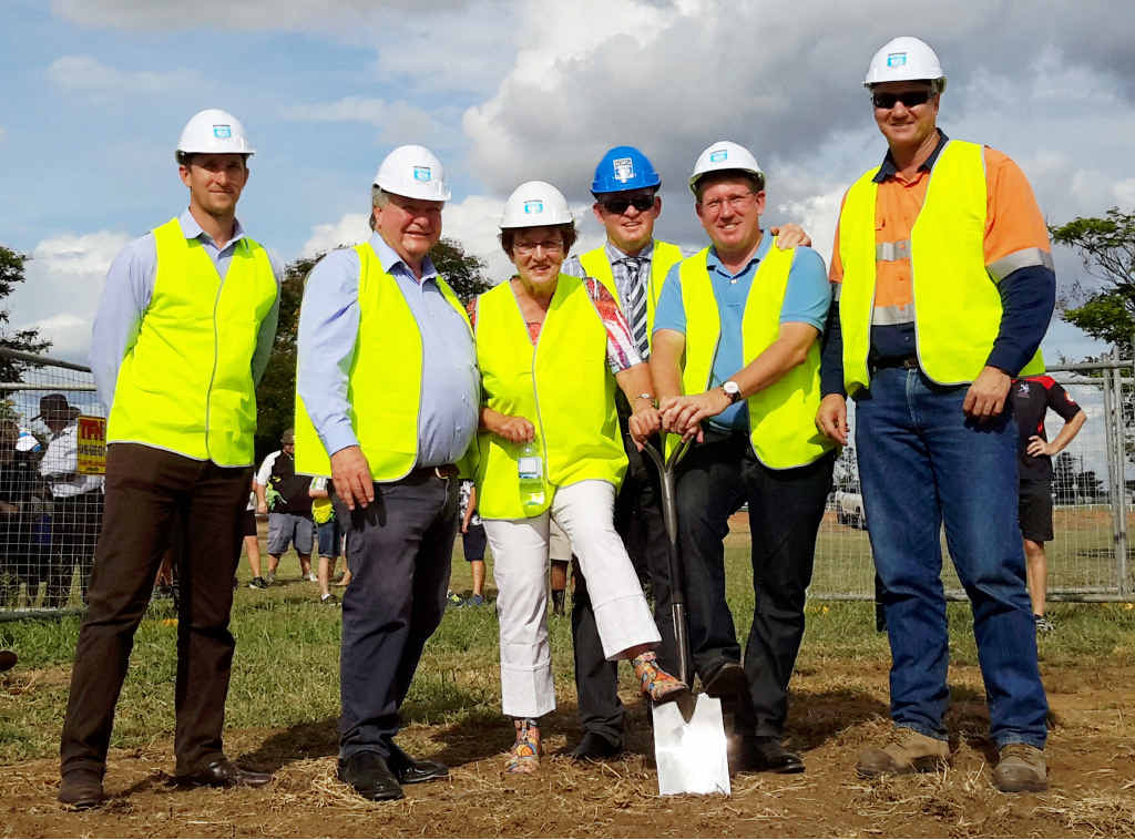 PROJECT STARTED: Hutchinson Builders' Nick Coltup, Flynn MP Ken O'Dowd, Cr Gail Nixon, Cr Kevin Pickersgill, Cr Kev Cracknell and Blackwater Coal Production manager Doug MacGibbon at the sod turning.