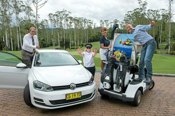 preview to rescue helicopter golf day at Bonville golf resort.Lto R: Geoff King , Mayor Denise Knight ,Louise Jordan and Zeke Huish from westpac rescue helicopter ..  16 March  2016. Photo: Trevor Veale / The Coffs Coast Advocate