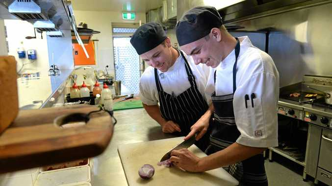 OPPORTUNITY: Rustic Mezedes chef Gerald Geerligs with TAFE apprentice Isaac Fallon are hopeful changes to workplace relations will create more jobs for youth.