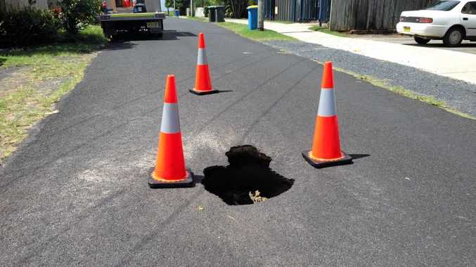 The sink hole in Rutherford St, Lennox Head