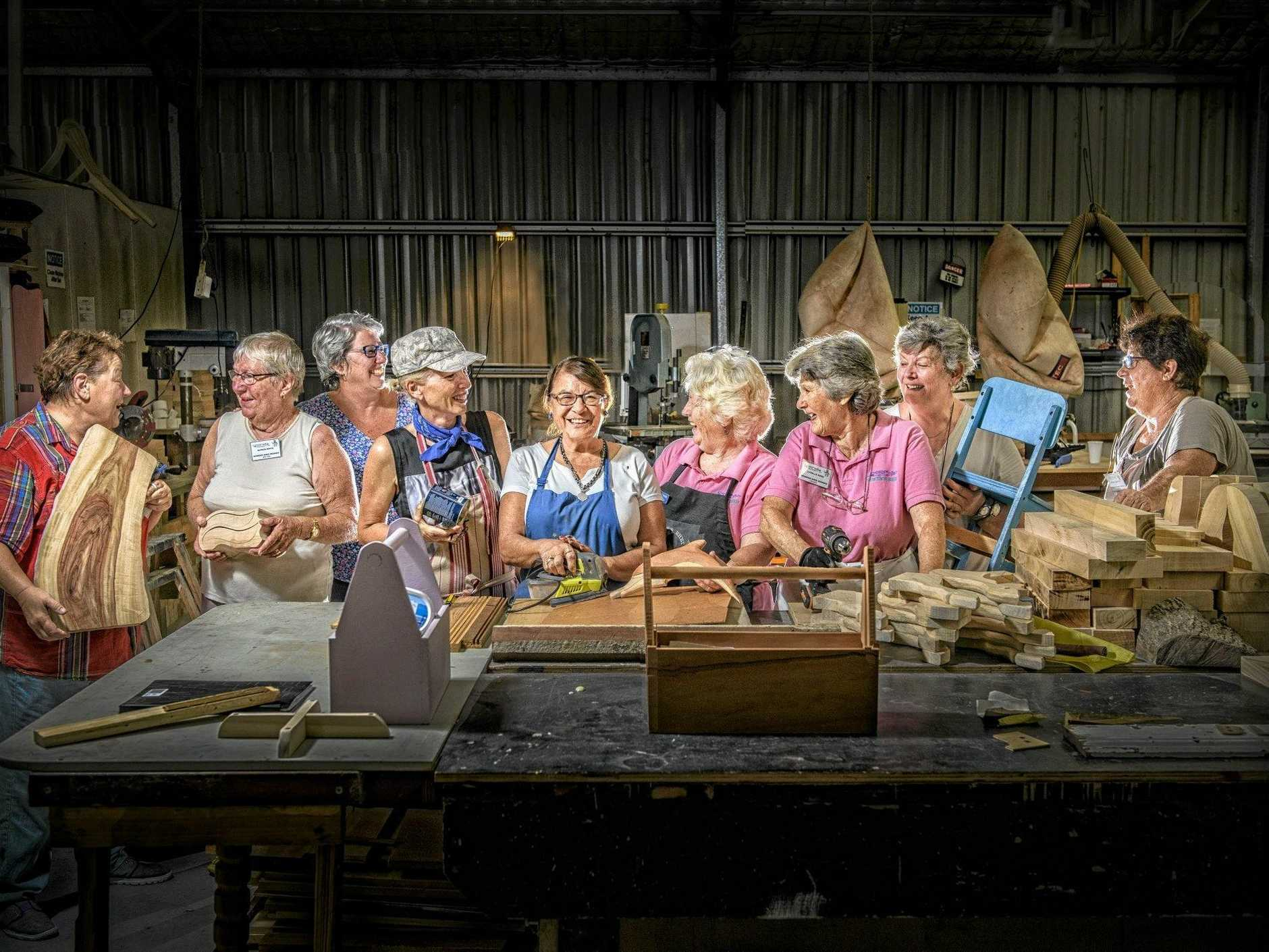 Members of the CRU3A Women's Shed gather together for a quick picture before working on their project in the Townsend workshop.