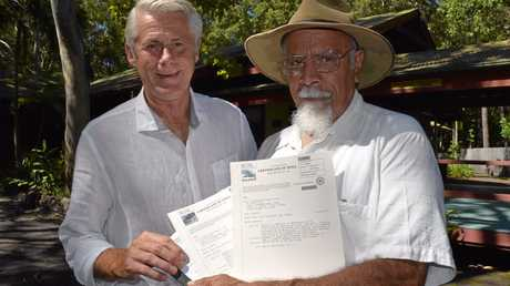 Tweed MP Geoff Provest with Tweed Aboriginal Land Council president Les Williams.