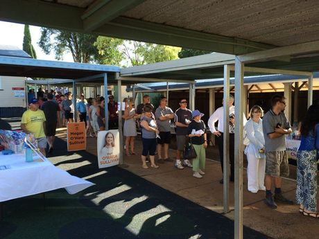 Voters line up at the booths at Rangeville State School.