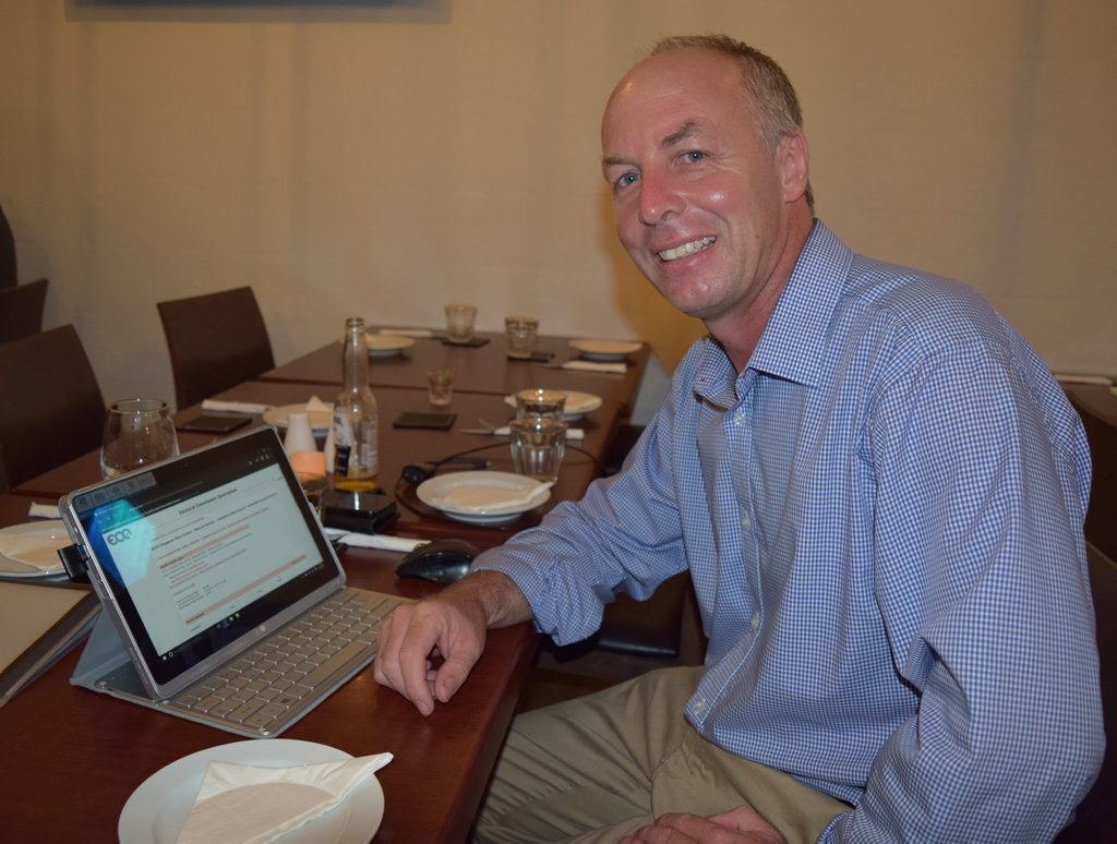 Livingstone Shire Council Mayoral candidate Heath Henwood checks the votes online as they roll in tonight at Yeppoon's El Toro restaurant where he's waiting to find out the results. Photo Amy Haydock / The Morning Bulletin