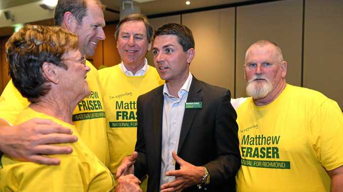 Matthew Fraser and supporters at South Tweed sports club on election night at the last Federal poll in 2013.