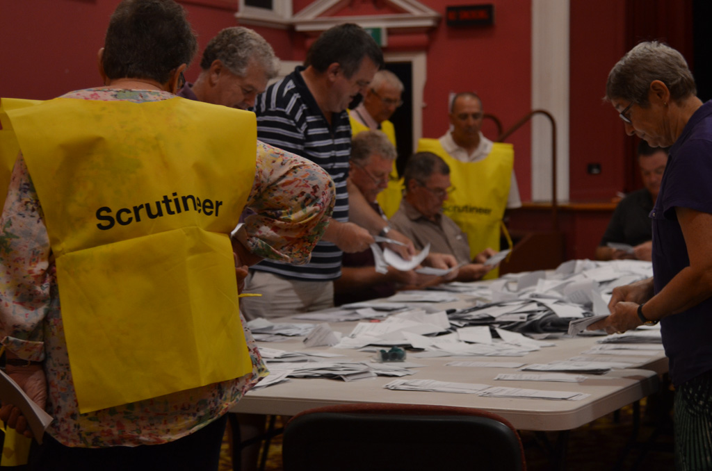Counting in under way at the Warwick Town Hall.