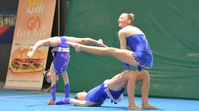 ELEGANT: The talented trio show their gymnastic skill. Photo Nick Kossatch / Observer