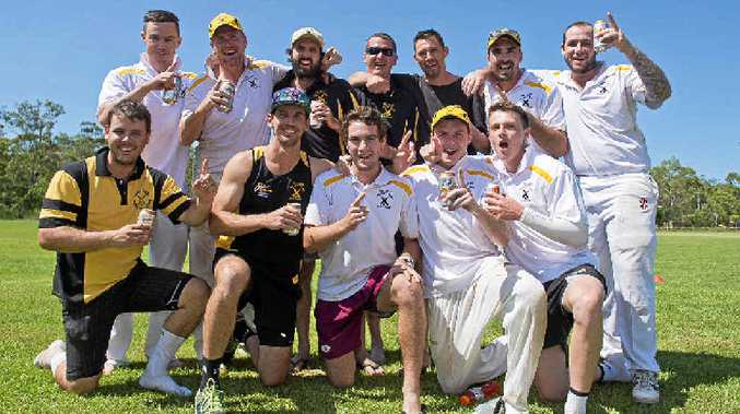 PREMIERS: The Glen players are all smiles after their five-wicket grand final win against Brothers.