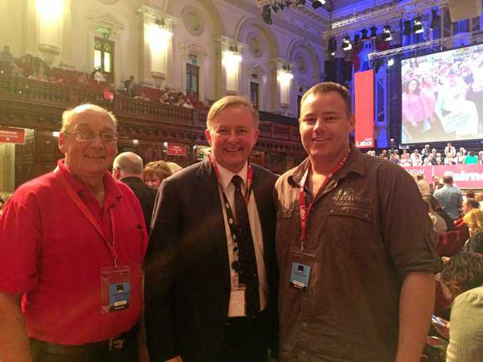 Coffs Harbour Labor branch president David Quinn, shadow minister Anthony Albanese and endorsed candidate for the seat of Cowper Damian Woods.