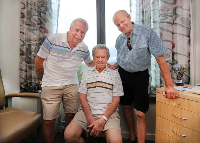 BEST MATES: Barrie Laws, Robert Scales and Alan Debreceny pictured at the John Flynn Hospital, Gold Coast.