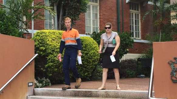 Joshua Taylor and Rebecca Maddin leave Gladstone Courthouse after receiving jail sentences (immediate parole release or suspended) for assaults. Photo Ross Irby / The Observer
