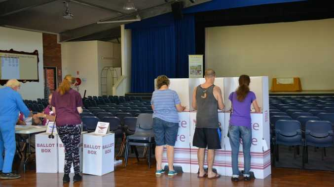 Voters at St John's Lutheran Hall on Saturday.