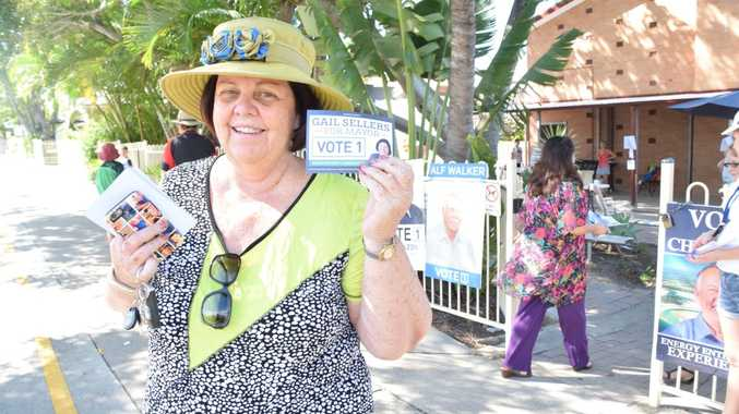 POSITIVE VIBES: Gail Sellers said voter support throughout the day has left her feeling positive if not confident. Photo Helen Spelitis / Gladstone Observer