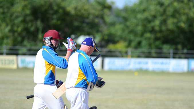 Crusaders' Jared Sippel and Paul Brunjes head out to the middle.Photo Keagan Elder / South Burnett Times