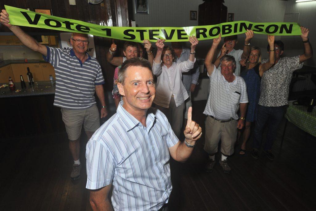 Sunshine Coast Council Cr Steve Robinson with supporters at the Bli Bli Community Hall.