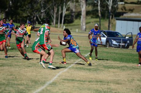 RUNNING THROUGH: Barry Tupau-Fewquandie charges head on into Pittsworth's defence. Photo Keagan Elder / South Burnett Times