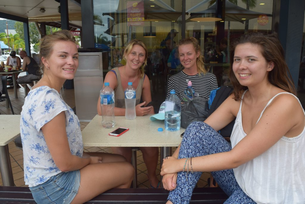 SAFE TRAVELS: UK tourists Frances Barton, Sarah Munton, Harriet Conington and Harriet Sandbrook were all vaccinated against measles back home. Photo Kathryn Cygan / Whitsunday Times