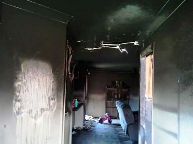 The family home at Mt Kynoch has been extensively damaged in the Friday night fire.