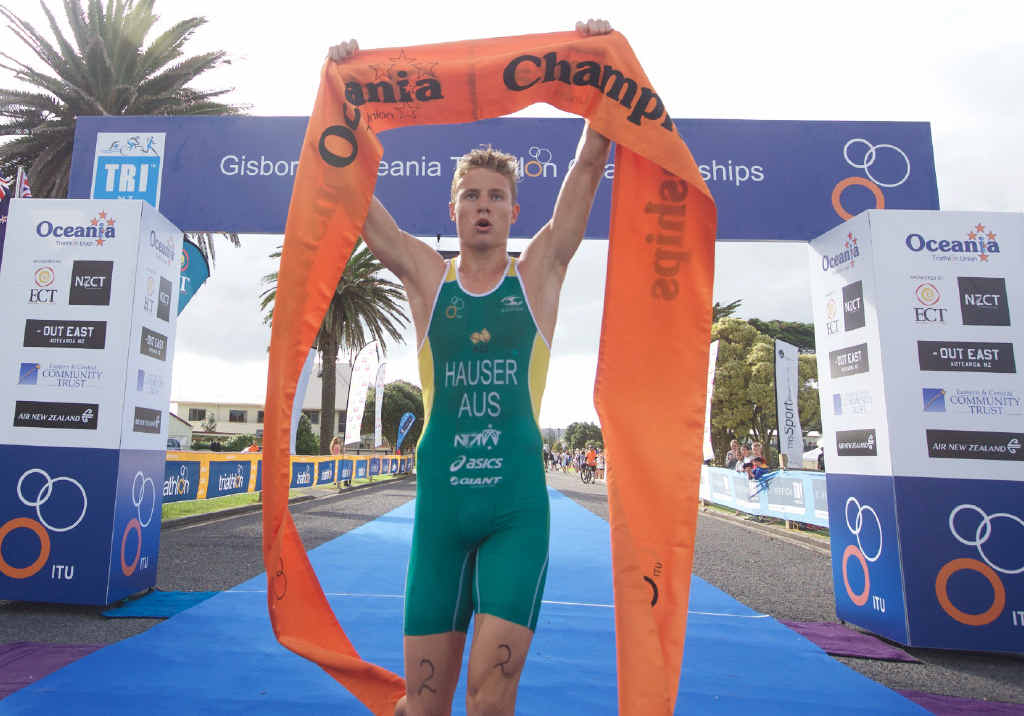 DOMINANT: Matt Hauser wins his third Oceania Championship and his second Australian Junior Triathlon Series in Gisborne, New Zealand. Hauser stormed home to beat New Zealander Daniel Hoy by 20 seconds. He now sets his sights on the World Championships later this year.
