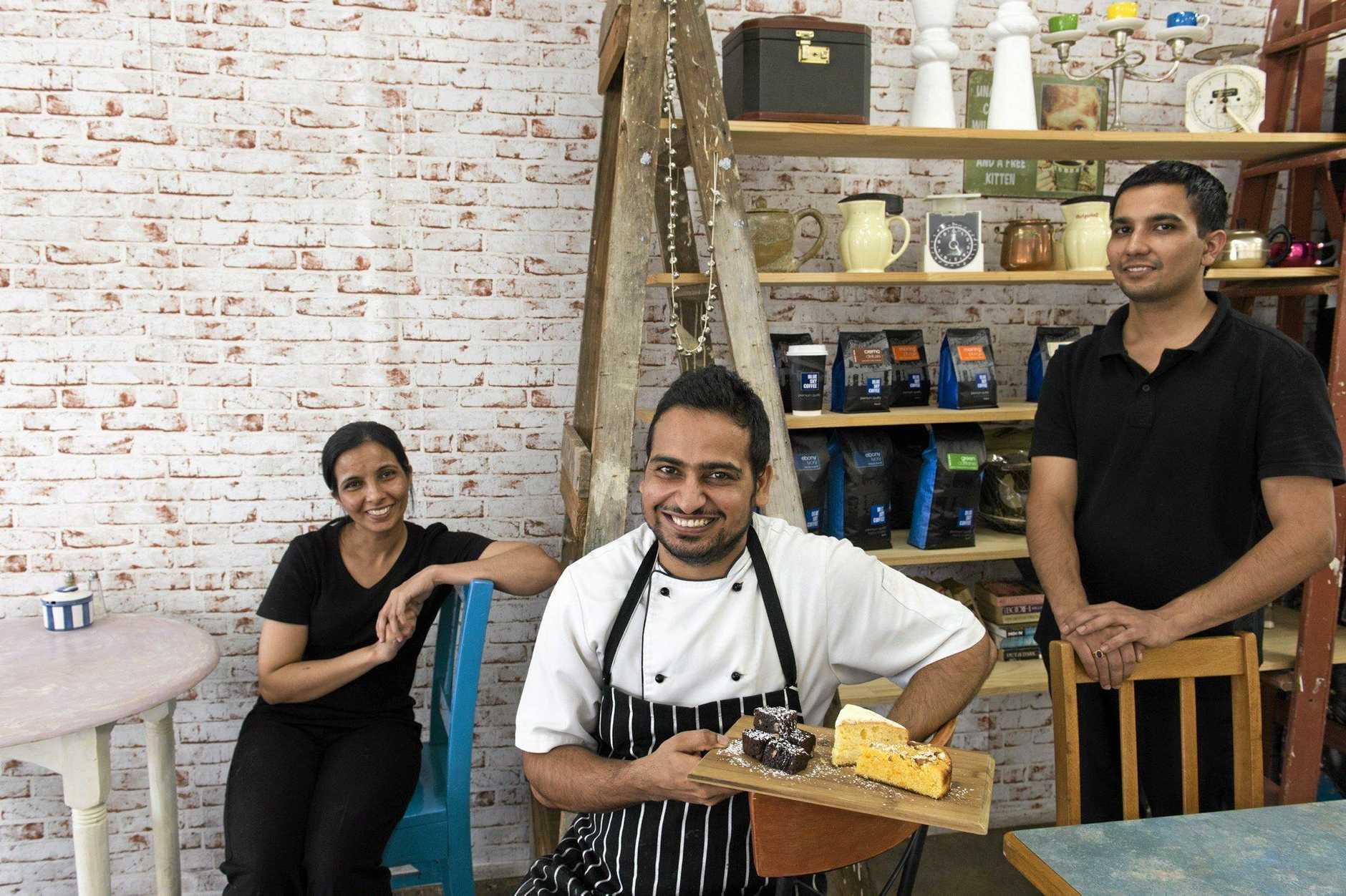 The Vintage Cafe owners Aman Randhawa and Raj Singh with staff member Garry Randhawa.
