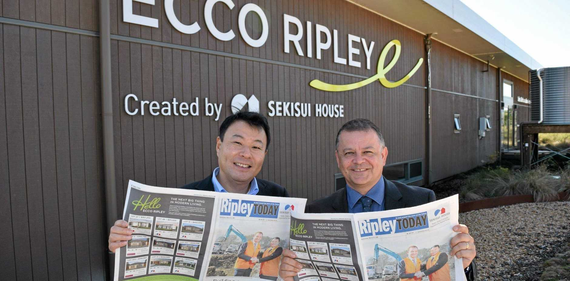 Sekisui House Australia CEO and managing director Toru Abe and APN ARM CEO Neil Monaghan hold the first ever edition of Ripley Today.