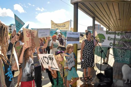 SAVE OUR FORESTS: North Coast Environment Council member Susie Russell addressed protesters at today's rally.