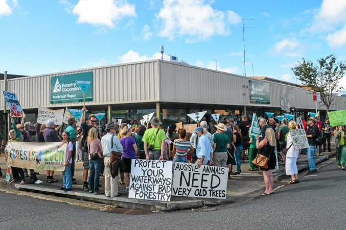 ANTI-LOGGING:  Dozens of locals converged on the Forestry Corporation's Coffs Harbour office in protest against proposed logging of coastal forest between Grafton and Taree.