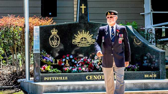 REMEMBRANCE: Clive Cramb  lays  a wreath at the dedication ceremony of the new cenotaph.