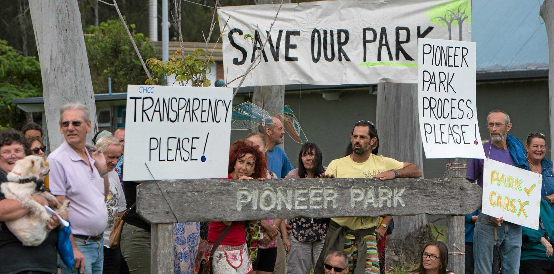 Locals gathered in Pioneer Park this afternoon for a peaceful protest picnic to take a stand against a proposed road to be developed through the park.