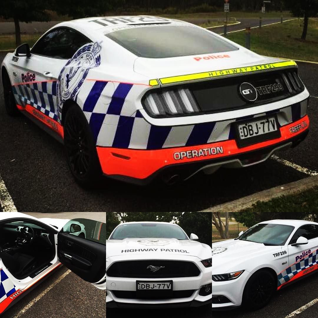A look at what a NSW Police Ford Mustang Highway Patrol vehicle would look like... if it passed the testing.