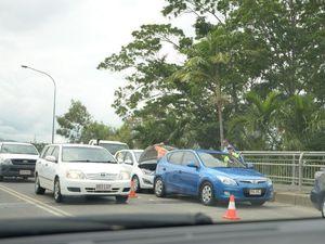 Three car pile up on Fitzroy Bridge blocking traffic