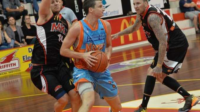 Shaun Bruce playing for the Marlins against the Meteors. Bruce will play for Mackay this QBL season.