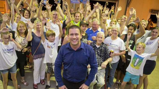 Matt Burnett celebrates with family and supporters after a mayoral win. Photo Paul Braven / The Observer