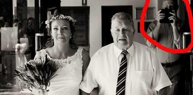 A photo bomber destroys a bride's special photo