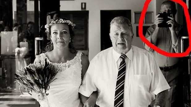 A photo bomber destroys a bride's special photo