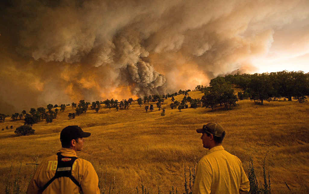 TINDERBOX: Firefighters can only watch as a huge blaze burns near Clearlake, California, on August 1 last year. The fire was one of dozens raging in the drought parched US state.