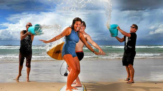 Australian Longboard Surfing open gets under way at Kingscliff this week end. Surfers Chloe' Calmon from Brazil and Luke Gyory get into the swing of things with some beach side practice.