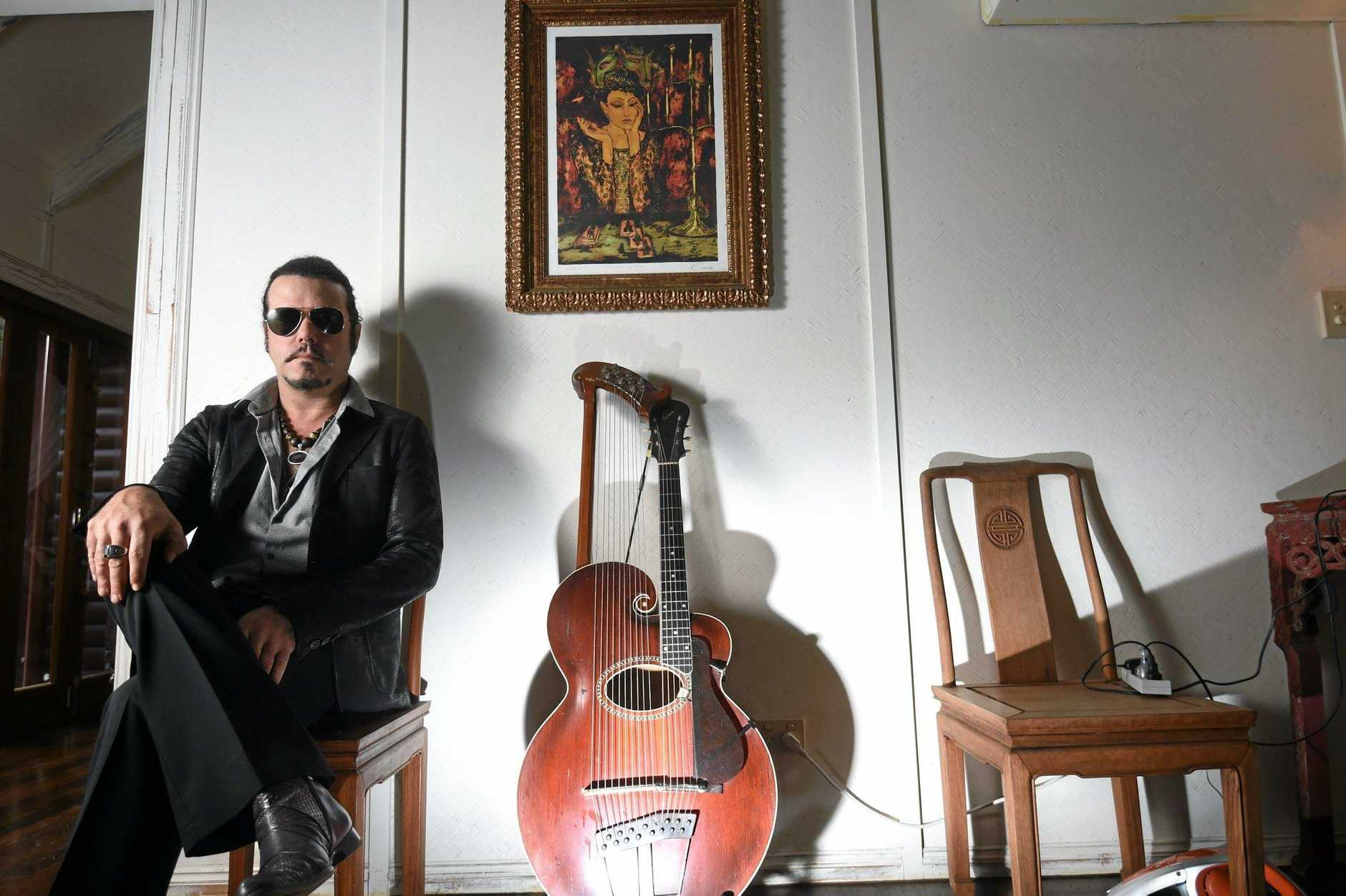 LOCAL: Tea Party frontman Jeff Martin at his recording studio near Byron Bay. Photo Marc Stapelberg / The Northern Star