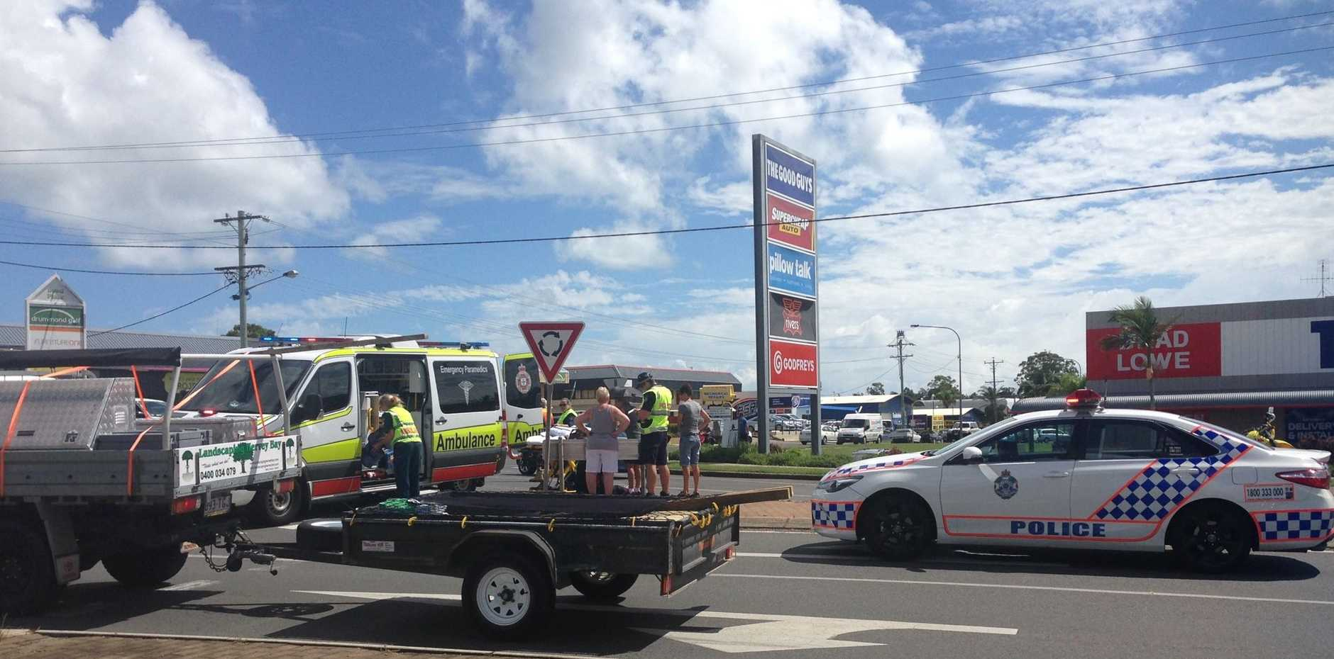 A man has been taken to hospital after a motorbike and car crash on Boat Harbour Drive