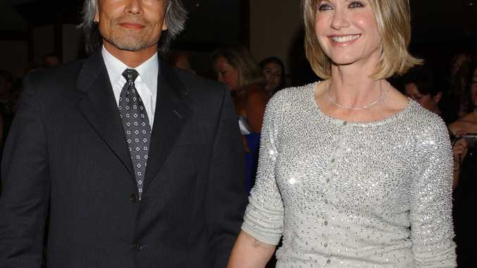 Olivia Newton-John and former boyfriend Patrick McDermott in 2005. Photo: AP