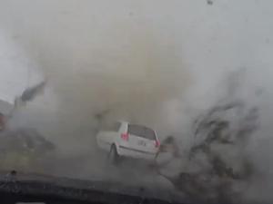 Car caught in tornado