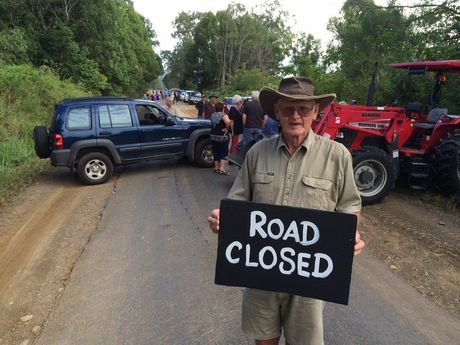 Dave Sands of Conondale joins the blockade of the Mary Valley Tourist Drive.