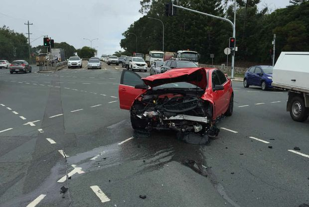 CAUGHT ON CAMERA: Chris Fowler's HSV after it hit by a red light-runner at Morayfield Rd.