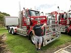 SWEET RIDE: Driver Mark Tait, of Annett's Transport, Heywood, with his T909 entry at the Heywood Truck Show.
