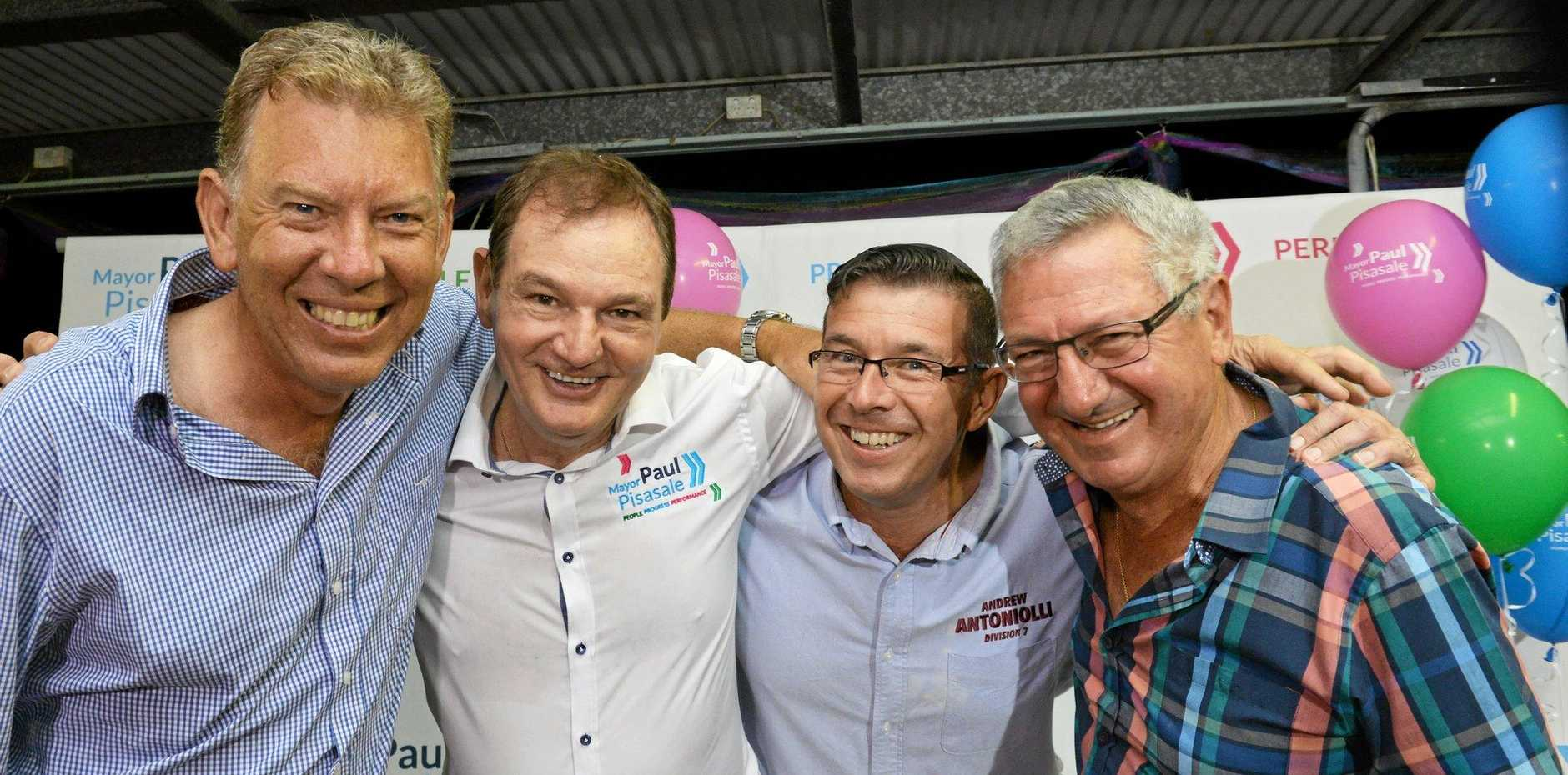 Ipswich deputy mayor contenders Wayne Wendt (left) abd Andrew Antoniolli (second centre) seen here with the Pisasale brothers on election night. Photo Inga Williams / The Queensland Times