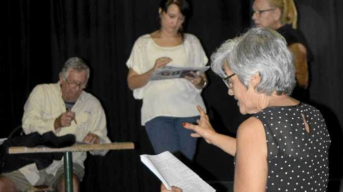 DIRECTOR'S NOTE: Merv Prior, Karla Hubbard and Rhonny Mackenzie take directions from Joumana Jeffers during rehearsals of When Dad Married Fury at Pelican Playhouse.