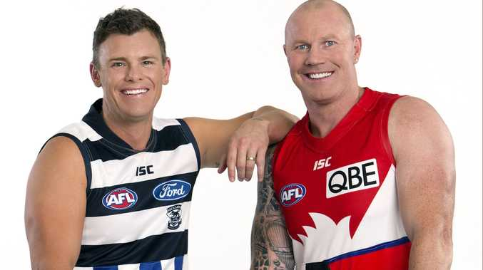 Barry Hall with fellow member of the Fox Footy team, Cam Mooney. Photo: Fox Footy.